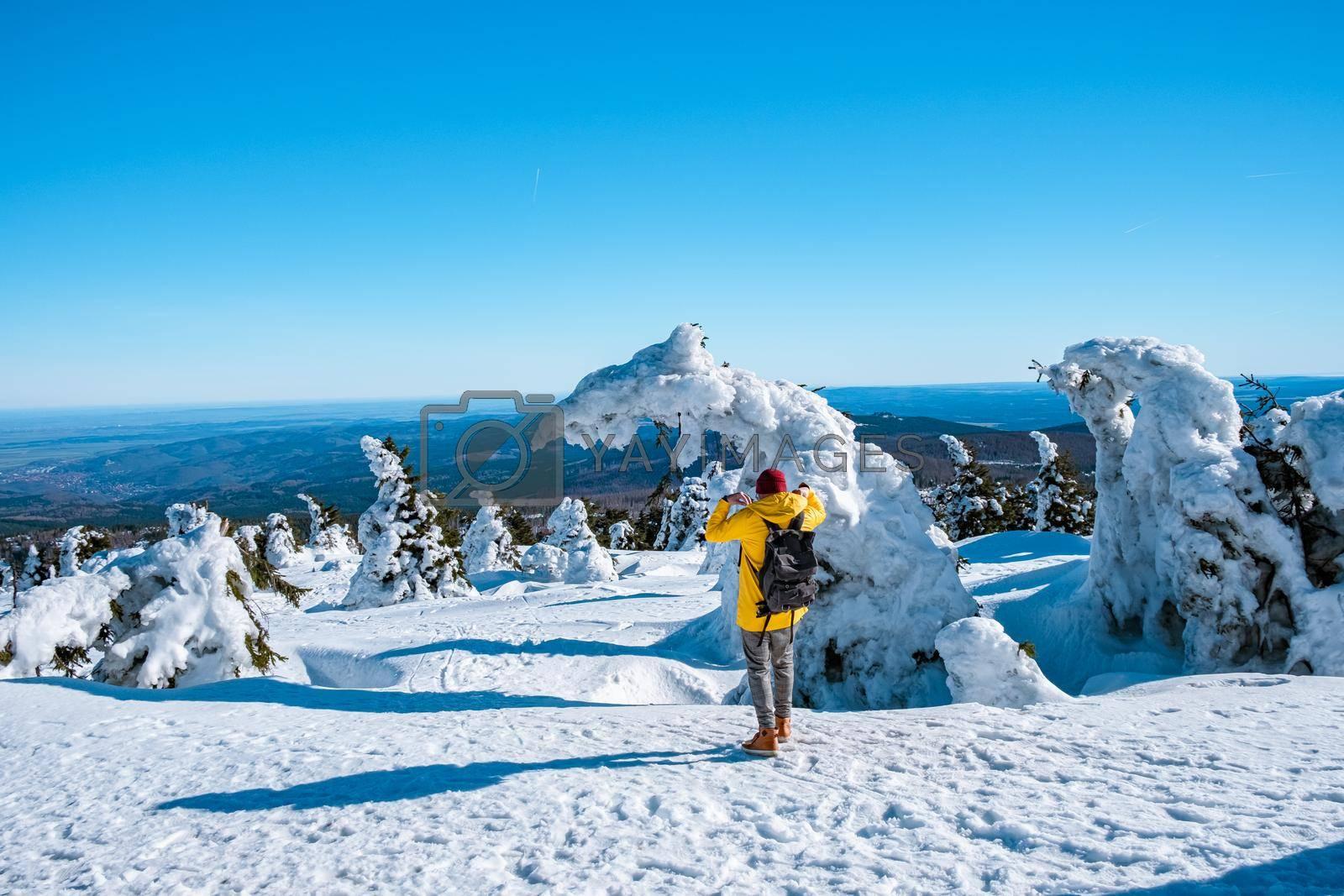 Harz national park Germany, Brocken through winter landscape, winter mountain . Brocken, Harz National Park Mountains in Germany. Europe