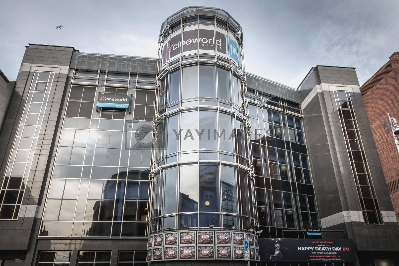 Dublin, Ireland, February 12, 2019: facade of Cineworld Complex in Dublin city center on a winter day