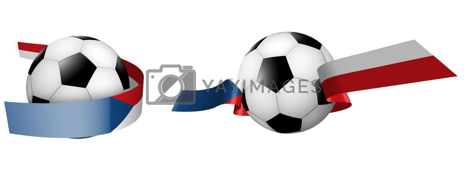 balls for soccer, classic football in ribbons with colors of Czech Republic flag. Design element for football competitions. Czech national team. Isolated vector on white background