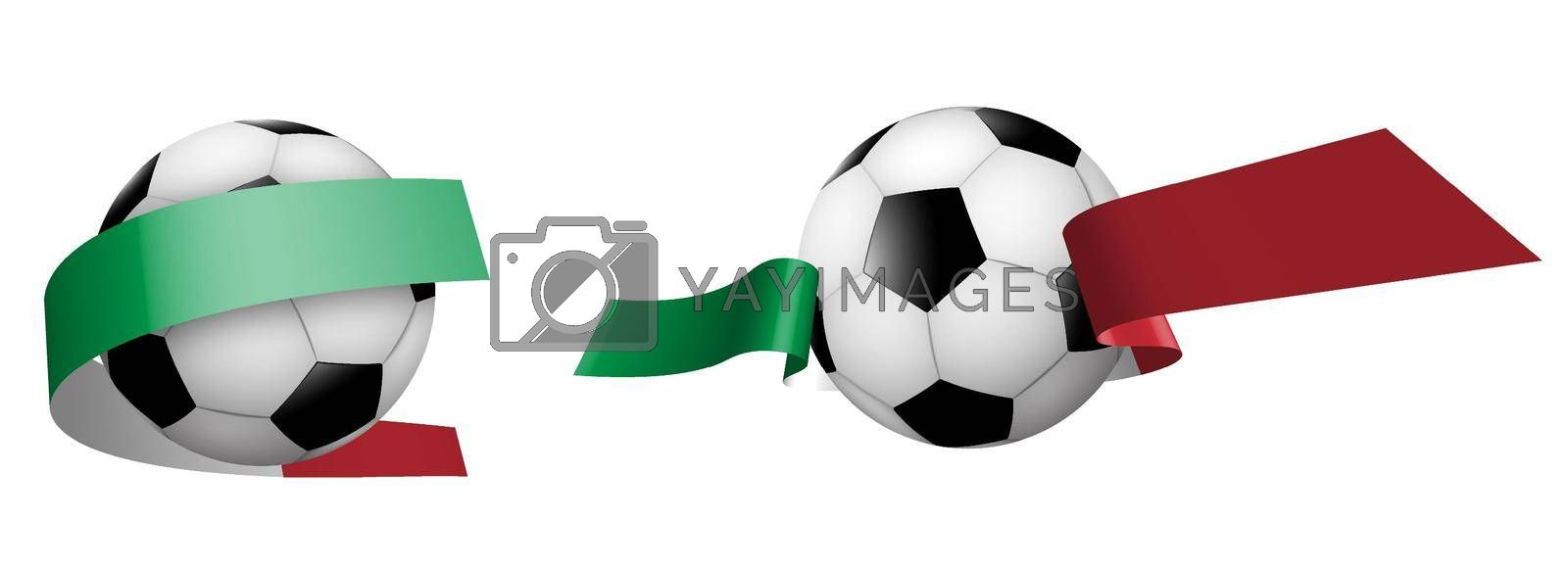 balls for soccer, classic football in ribbons with colors of Italian flag. Design element for football competitions. Italian national team. Isolated vector on white background