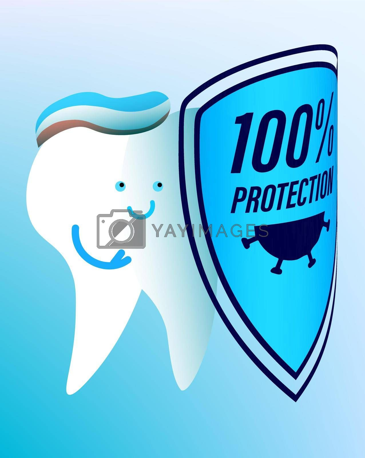 cheerful tooth with a hygiene shield protects against viruses. Prevention of dental diseases. Isolated vector on white background