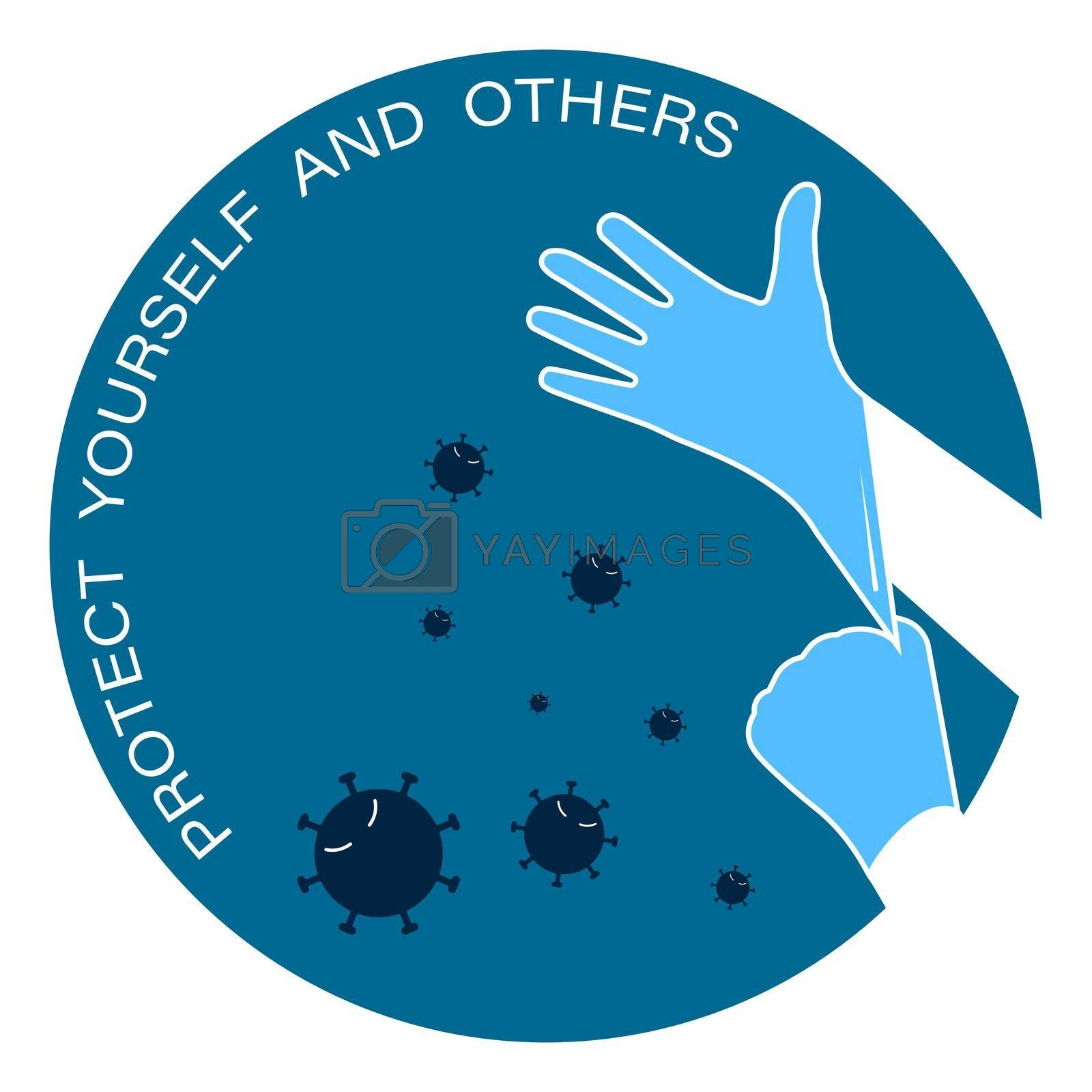 colored icon, logo. Rubber gloves are worn on the hands to protect against viruses and bacteria. Protecting yourself and others. Isolated vector