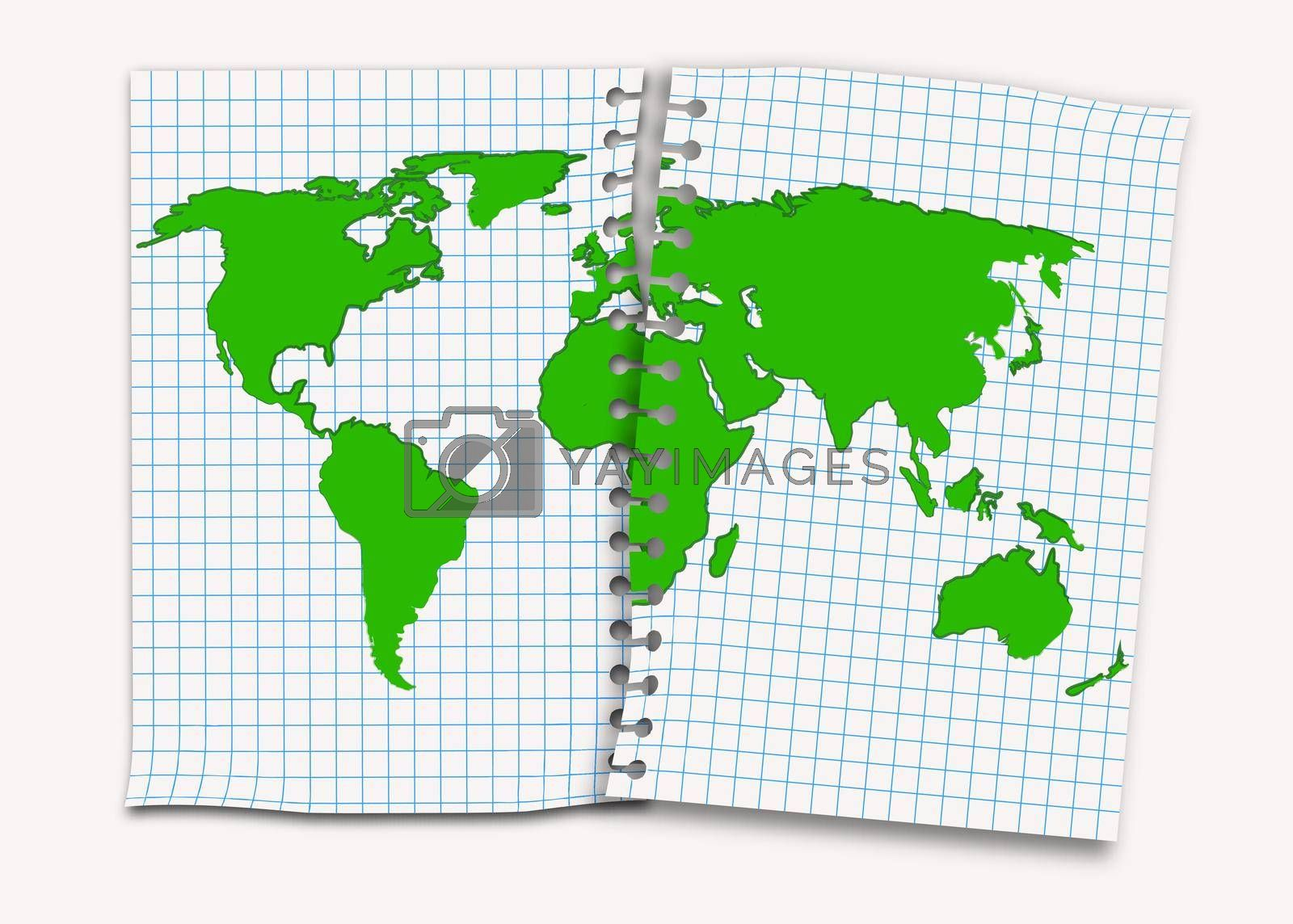 continents of the planet earth are drawn on notebook sheets. Concept on environmental protection. Isolated vector on white background