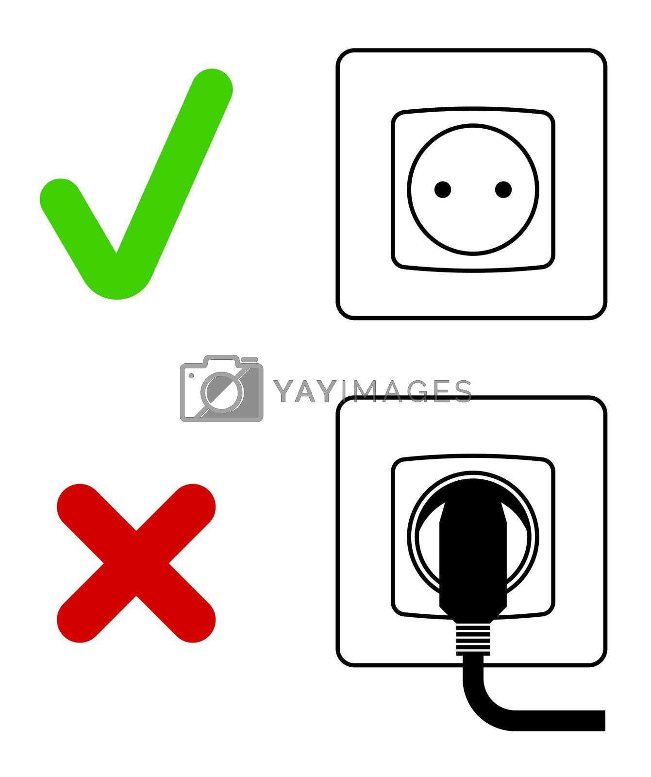 Electric socket with a plug. Electrical appliances left unattended. Saving energy, caring for nature. Isolated vector on white background