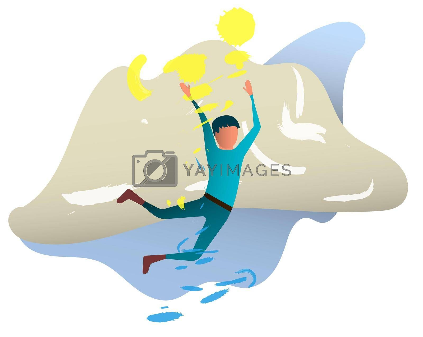 easy summer day. The boy flies caught in the wind and waves. Sun, sea wave, good mood