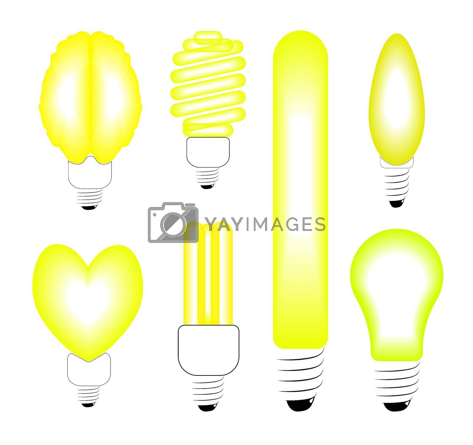 energy saving and incandescent bulbs of unusual shape in black and yellow on a white background