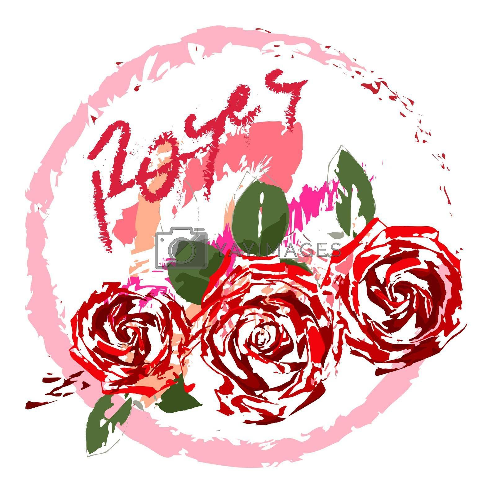 festive logo for mothers day, three roses on a transparent background, in the style of oil painting