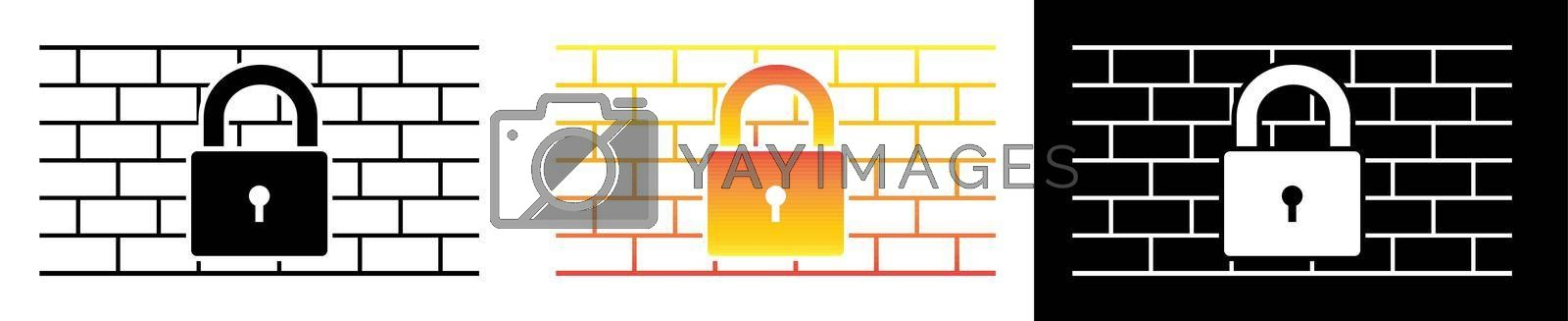 Firewall sign is black and white and in the colors of fire. Network data protection. Vector