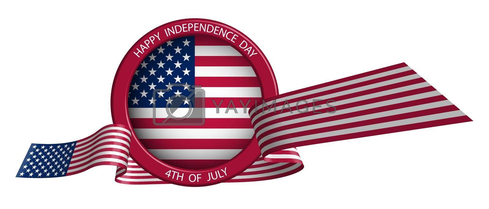 emblem, label, label with ribbon in american flag colors. Festive design element for Independence Day USA. Isolated vector on white background