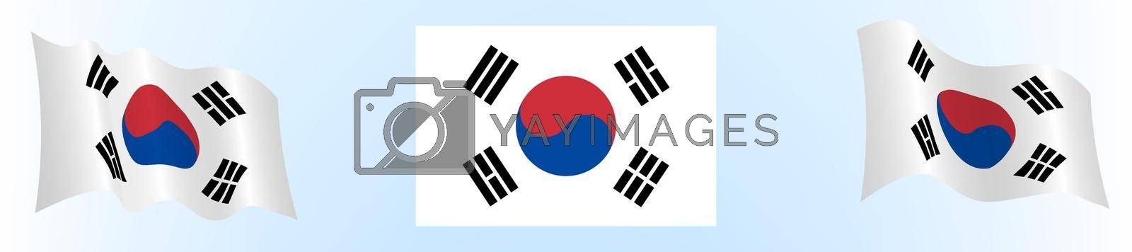 Flag of republic of Korea in static position and in motion, developing in the wind, on white background