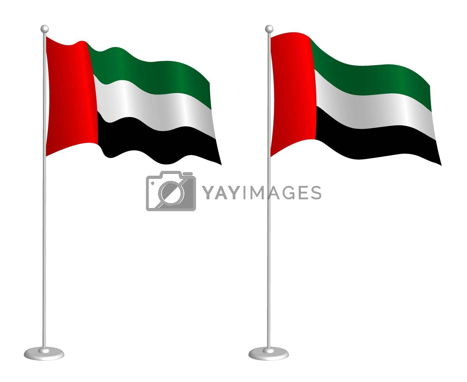 flag of United Arab Emirates on flagpole waving in the wind. Holiday design element. Checkpoint for map symbols. Isolated vector on white background