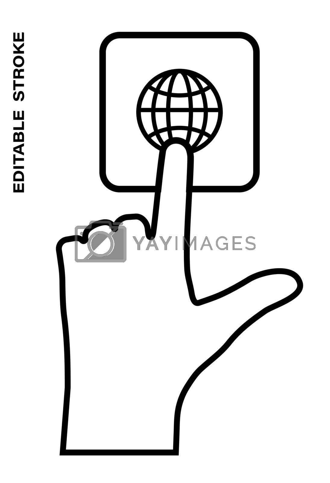 Icon editable stroke, human hand presses the keyboard button Globe, internet with the index finger. Getting help, additional information. Isolated vector on white background
