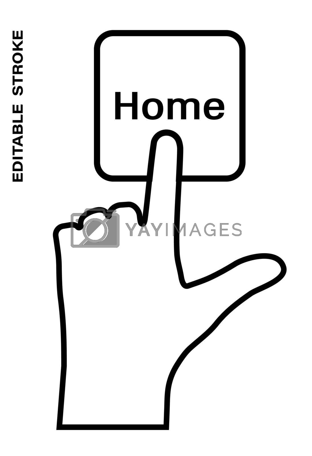 Icon editable stroke, human hand presses the keyboard button Home with the index finger. Getting help, additional information. Isolated vector on white background
