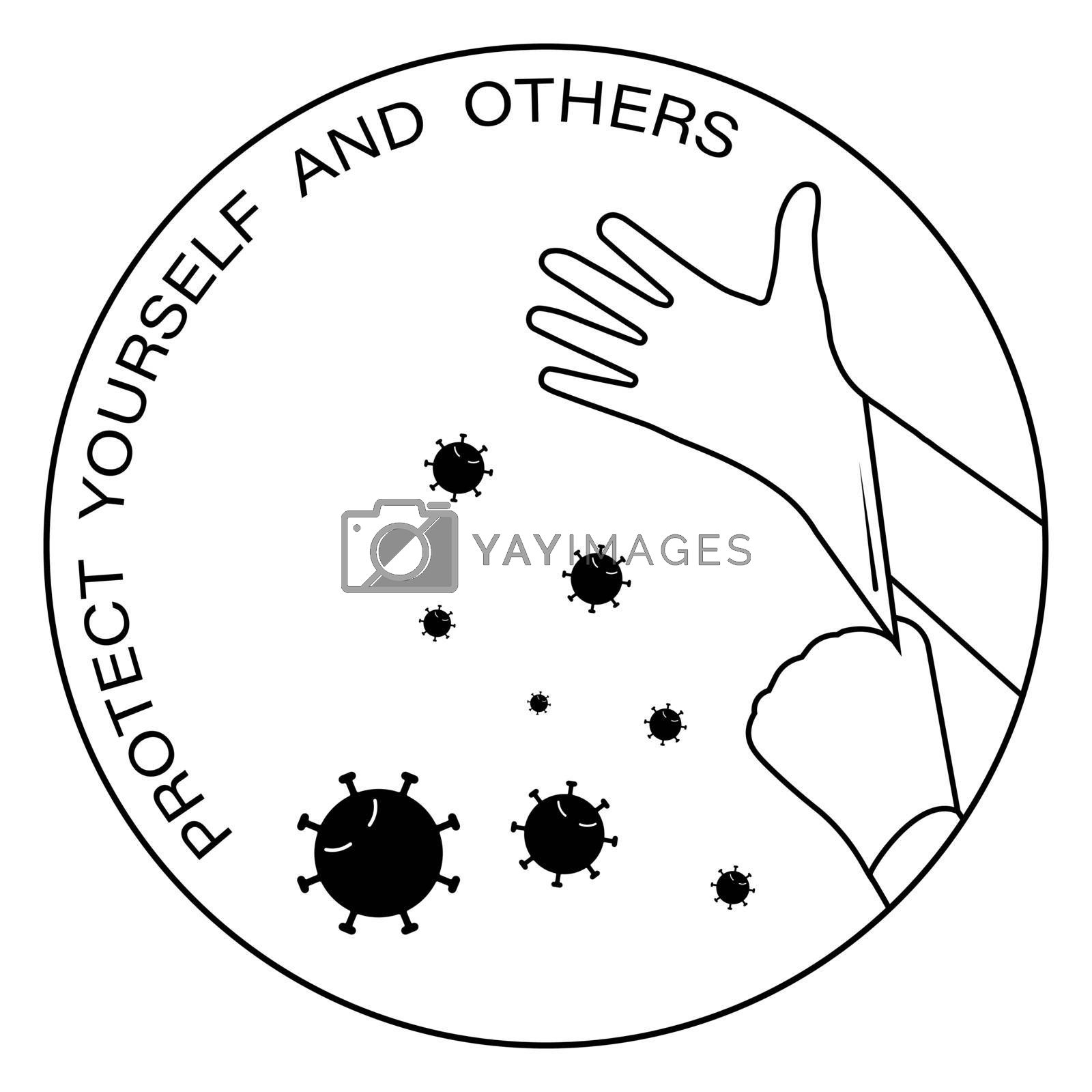 icon, logo. Rubber gloves are worn on the hands to protect against viruses and bacteria. Protecting yourself and others. Isolated vector