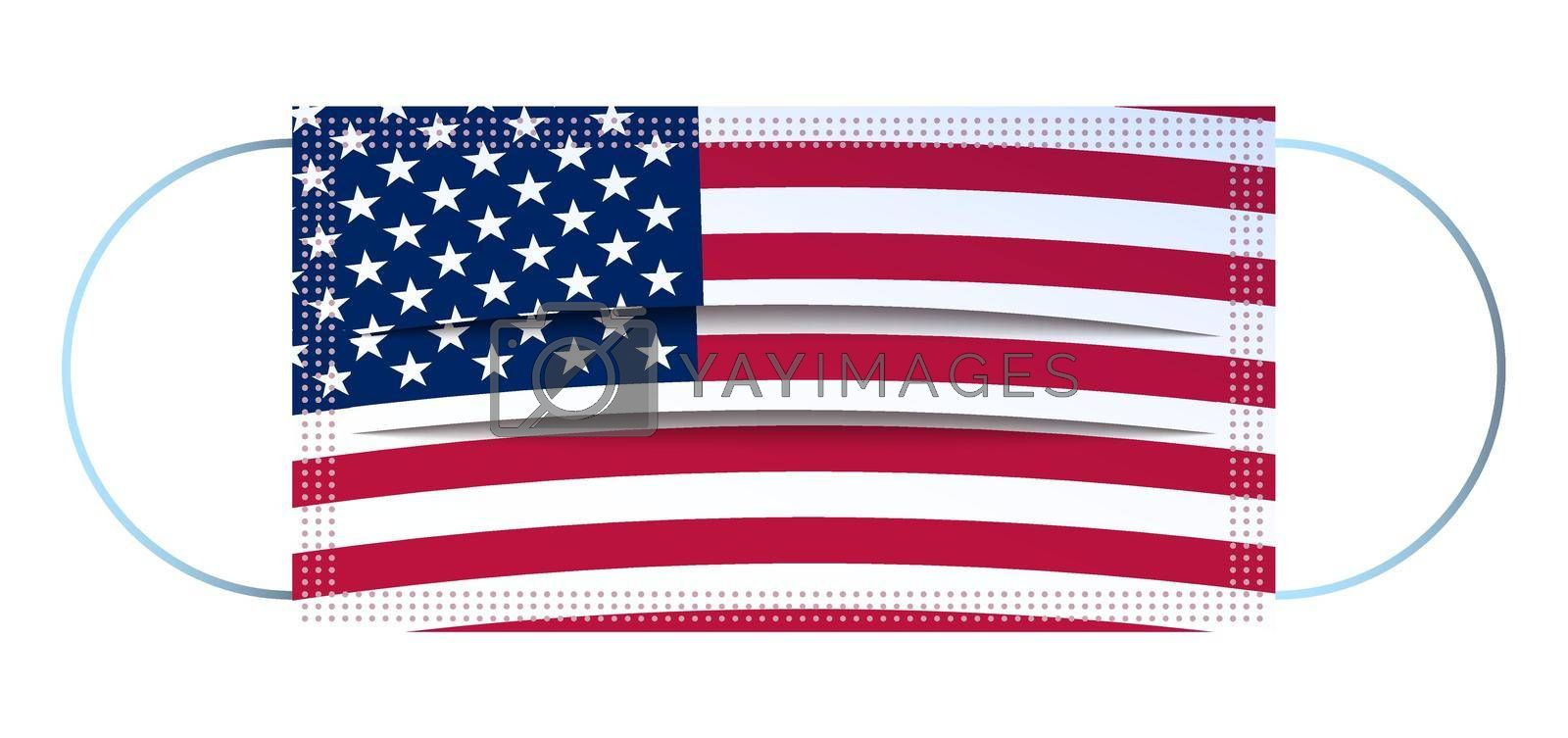 Icon, medical mask in american flag colors. Respiratory protection. Isolated vector on white background