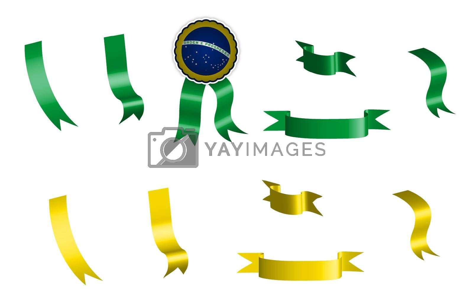 label, set of green and yellow ribbons with tag, in colors of brazil flag. Isolated vector on white background
