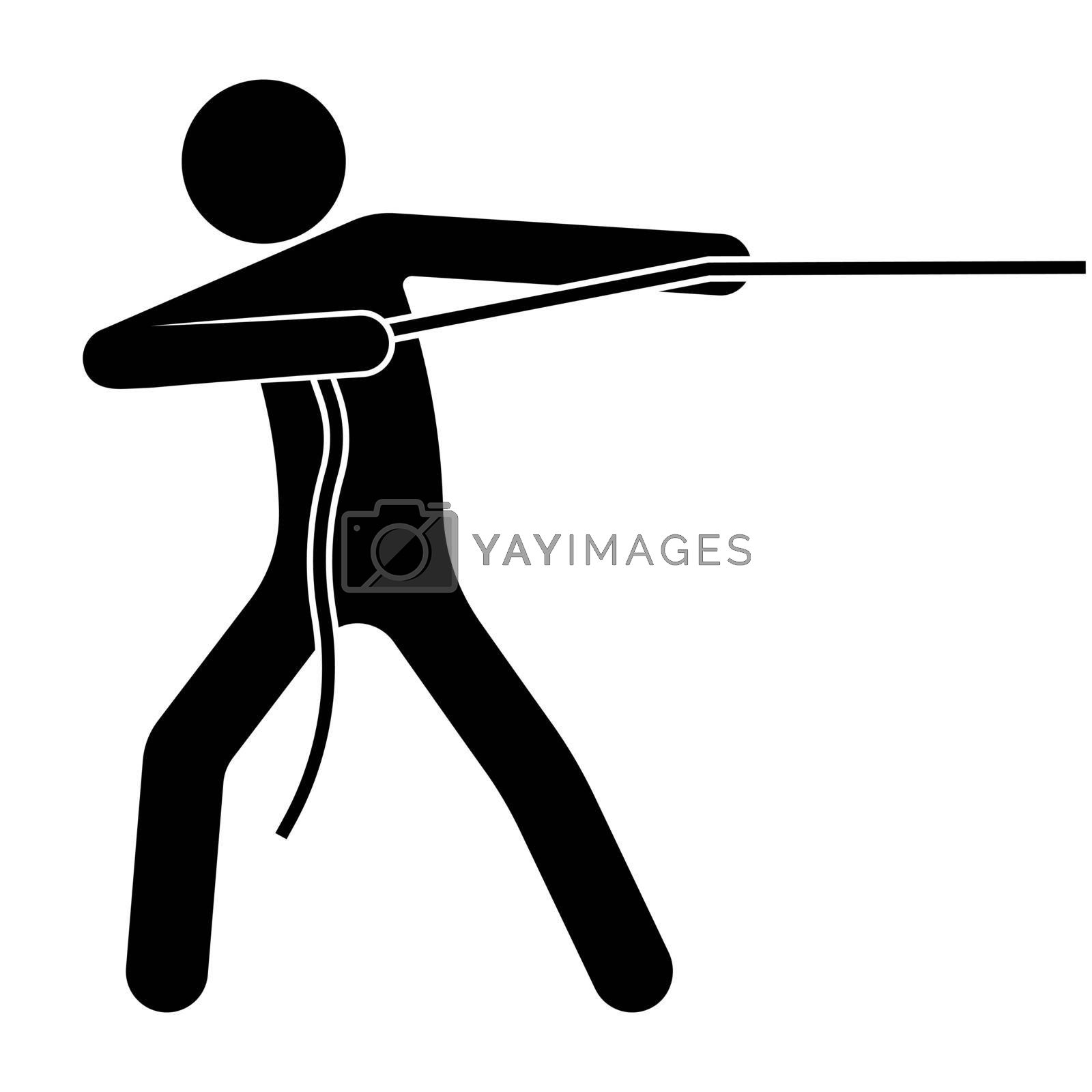 man pulls a rope with a heavy load. Performing an impossible task. Isolated vector on white background