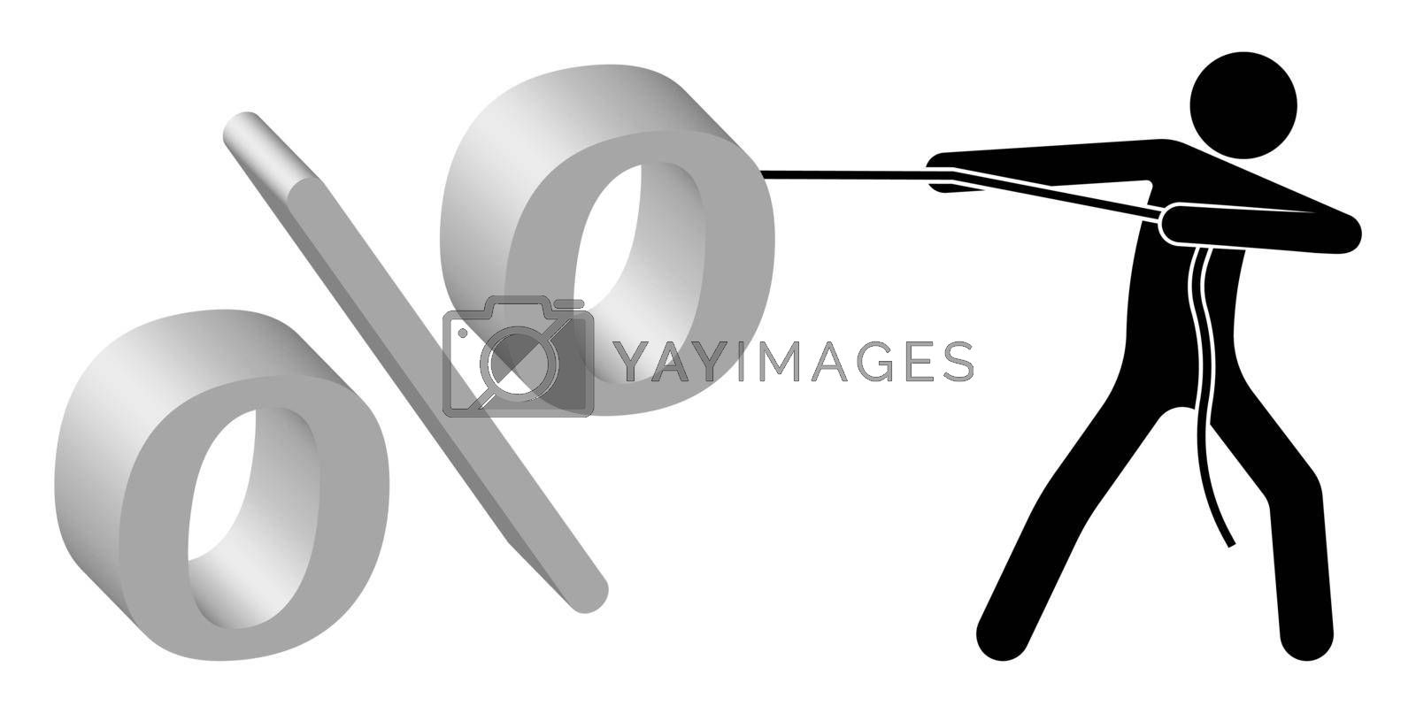 man pulls a rope with huge percentages. Debts to the bank. Performing an impossible task. Isolated vector on white background