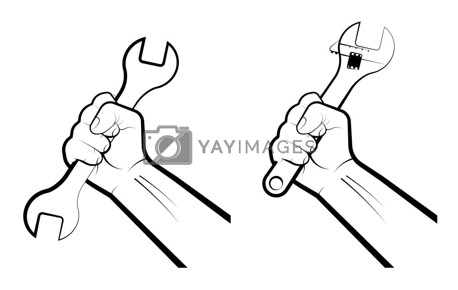 Mans hand clenches a huge wrench in a fist. Hard work, working professions. Labor Day. Isolated vector on white background