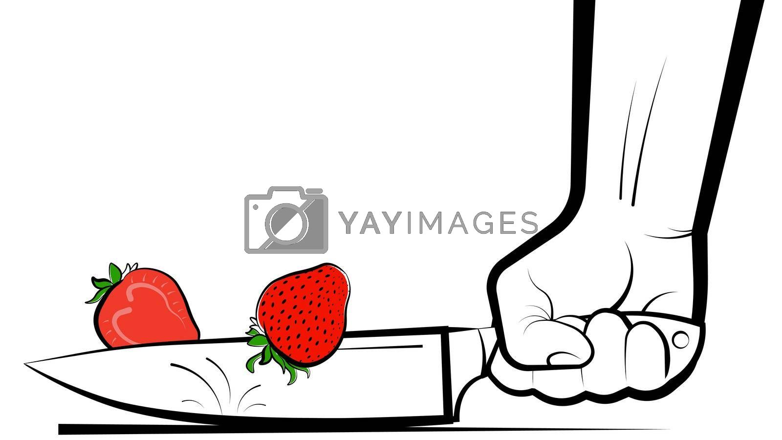 mans hand cuts a ripe juicy strawberry with a knife. Preparation of vitamin cocktails. Vegetarian food. Banner, poster. Bright summer design element on white background