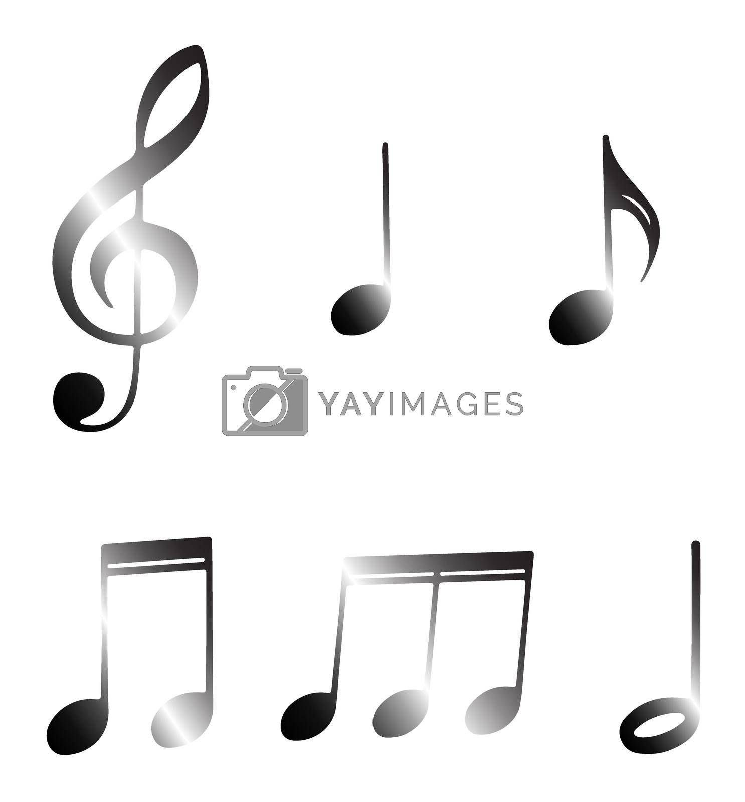 musical notes and signs on a transparent background