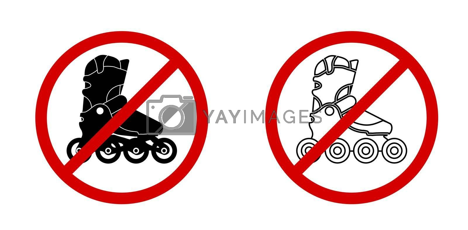 No roller skating prohibition vector sign in the red circle. Vector on a white background