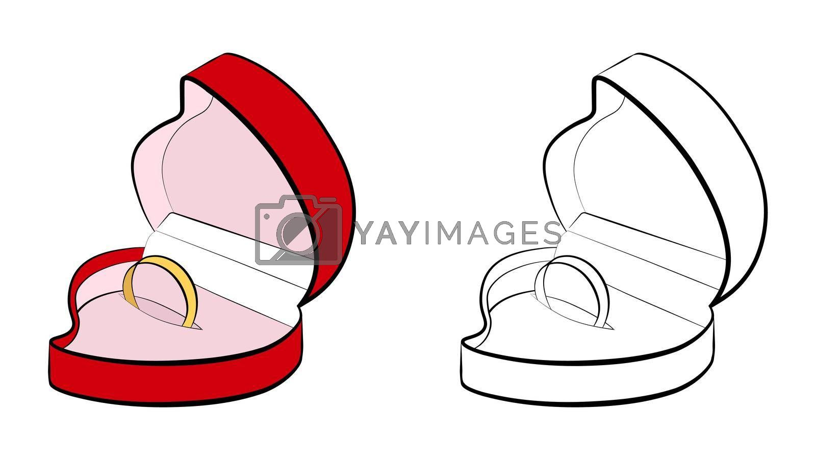 open case in the shape of a heart with a wedding ring. Marriage, family, wedding ceremony. Isolated eyelid on a white background