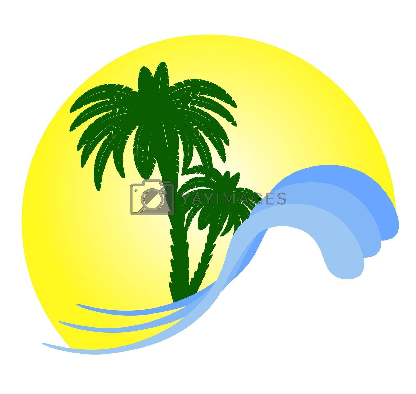 palm beach vacation sea waves logo vector template