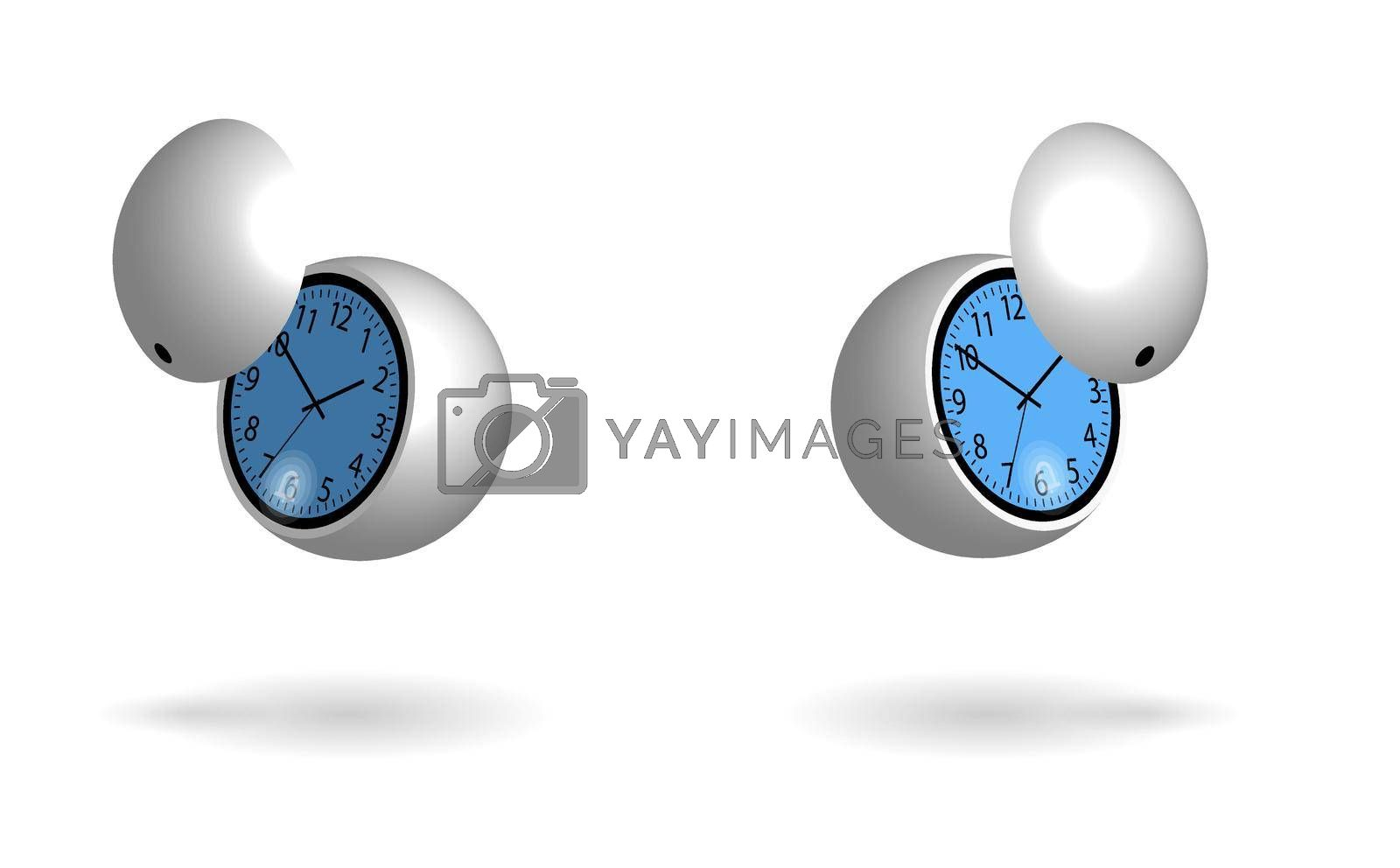 round flying sphere shaped futuristic watch with an alarm clock and a ball shaped protective panel. Blue backlight. Isolated vector on white background