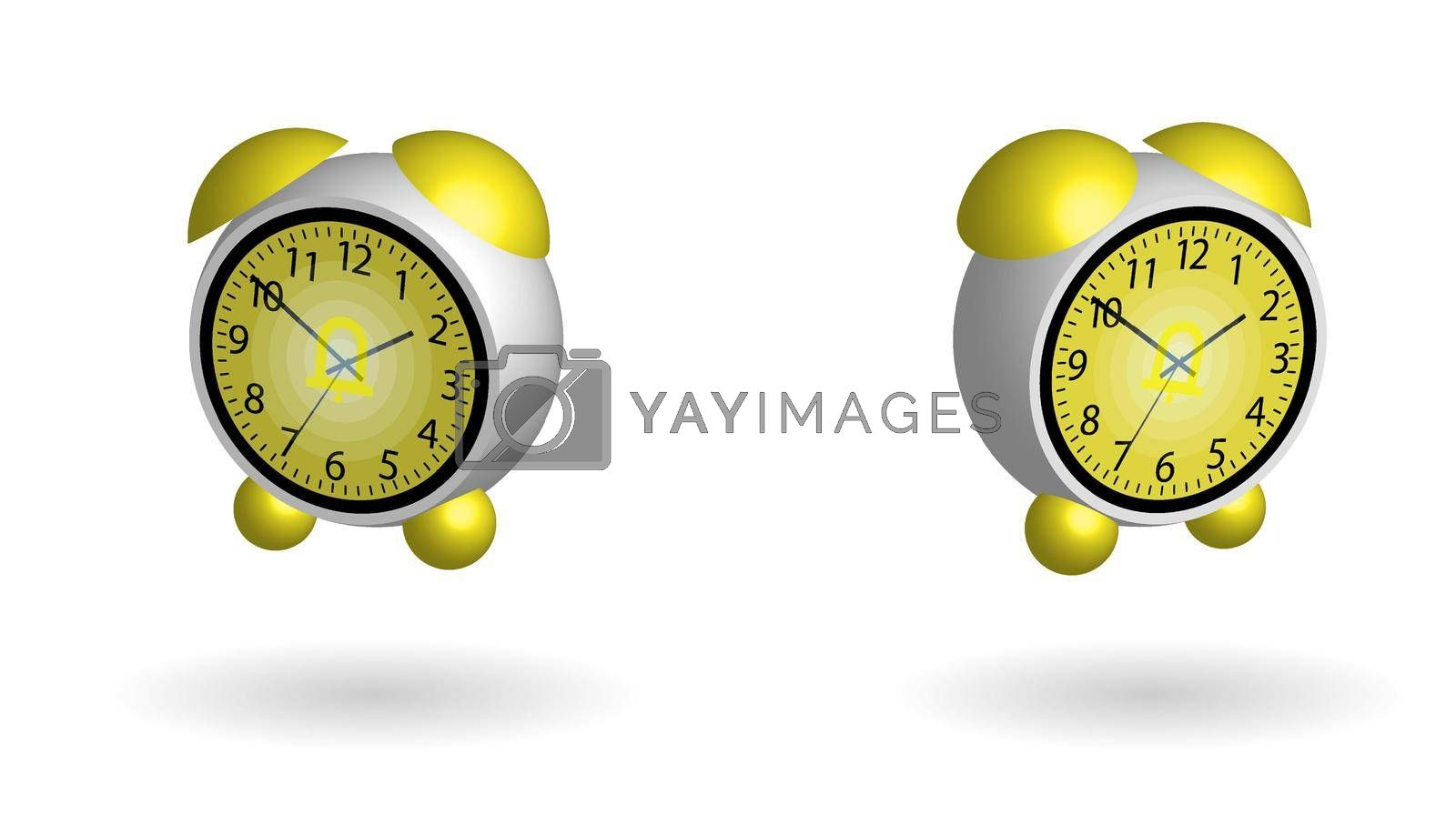 Round flying spherical alarm clock. A good start to the day. Isolated vector on white background