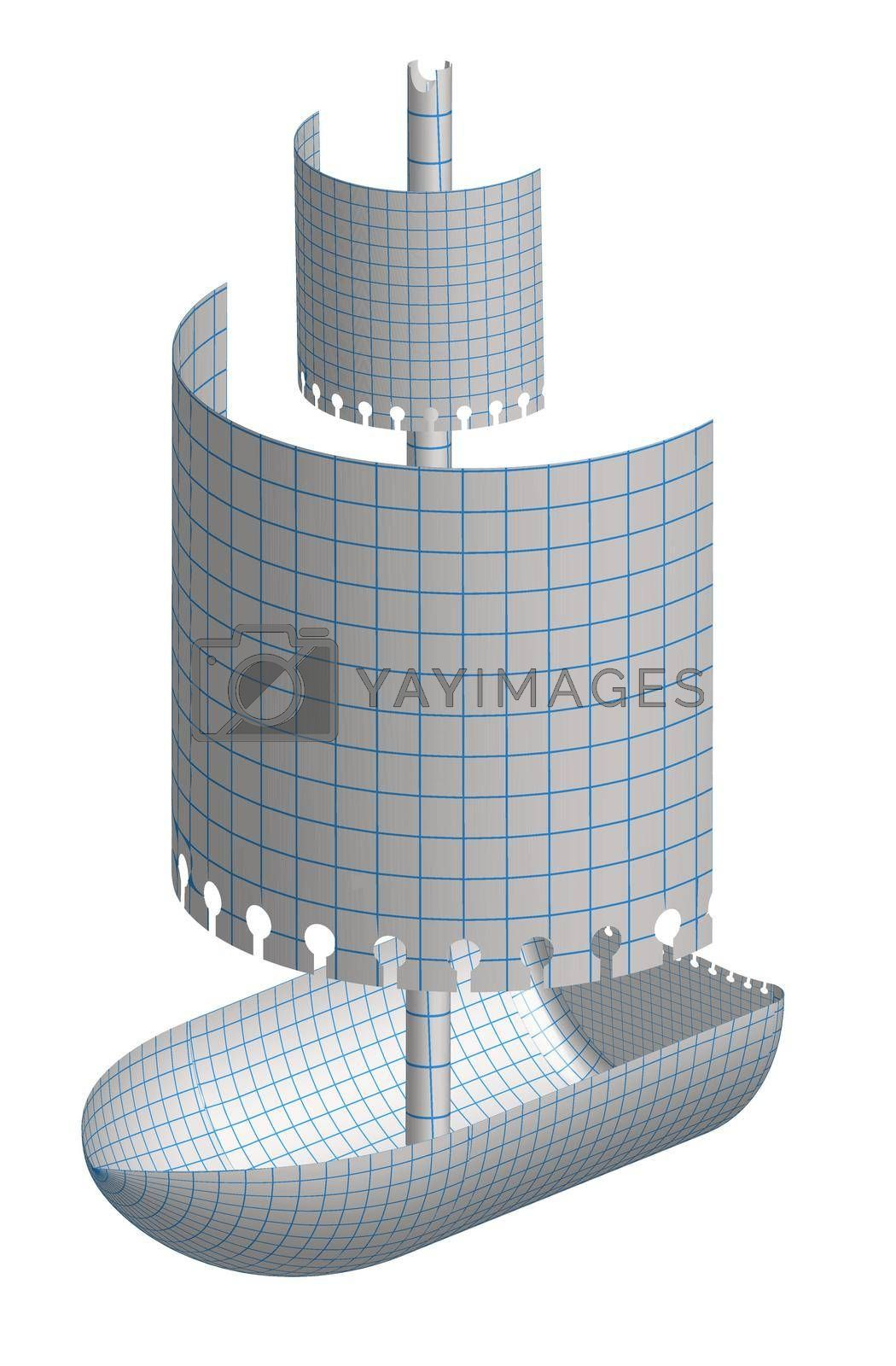 realistic paper boat with sails from a notebook sheet into a cage. Isolated vector on white background