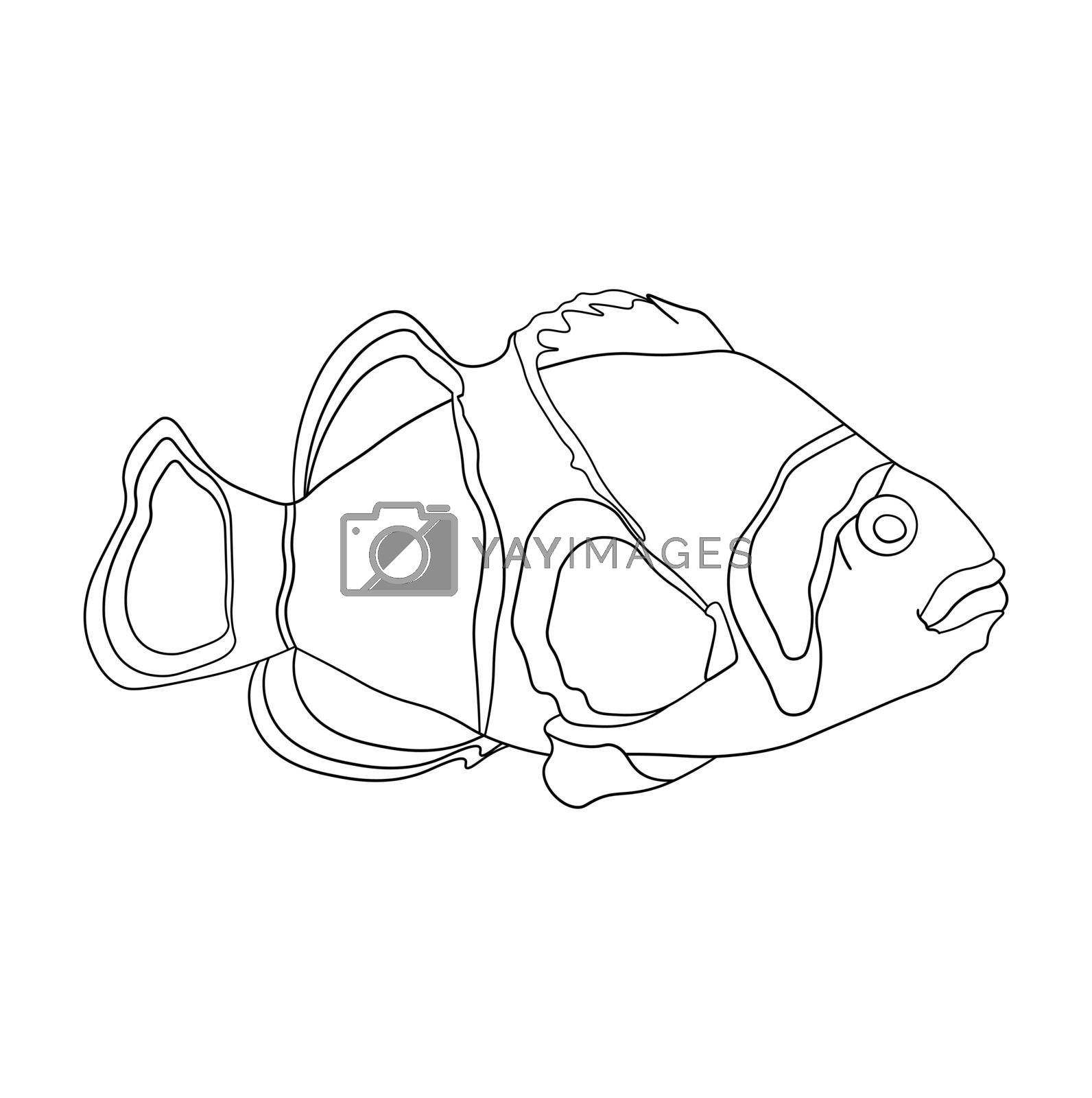 sea fish in linear for coloring page. Children drawing for coloring. Vector on white