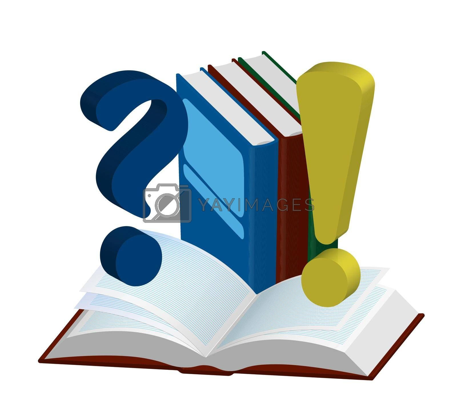 School 3D illustration, icon. Open and closed isometric books with question and exclamation marks. Template or layout for design. Isolated vector on white background