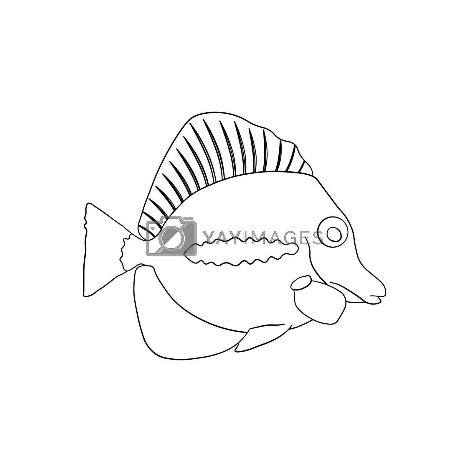 sea fish. Children linear drawing for coloring. Vector on white