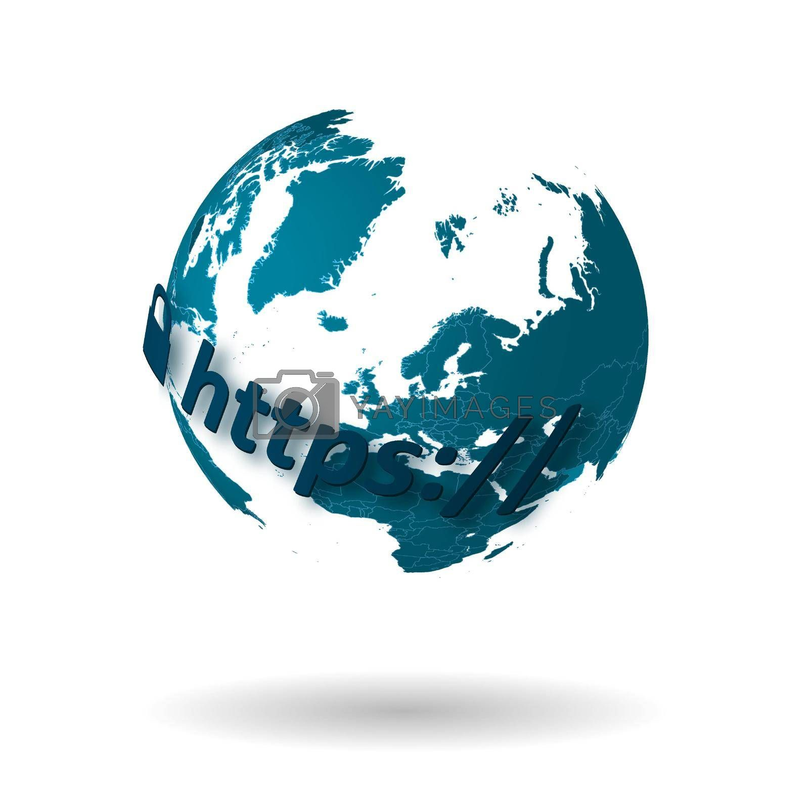 secure internet connection concept. Secure communication with encrypted traffic. Globe with continents on a white background. Vector