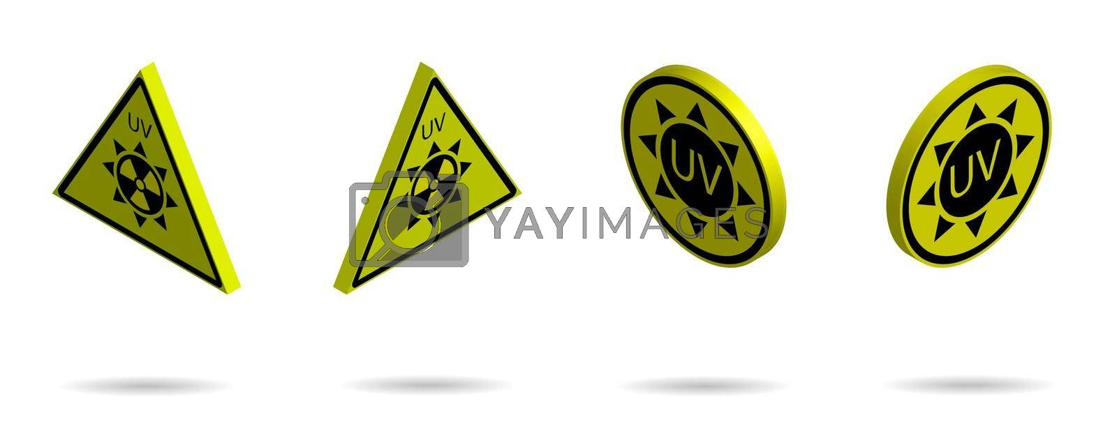 set of 3d danger signs on a yellow background, high solar activity. Increased ultraviolet radiation. Protection against sunburn. Isolated vector on white background