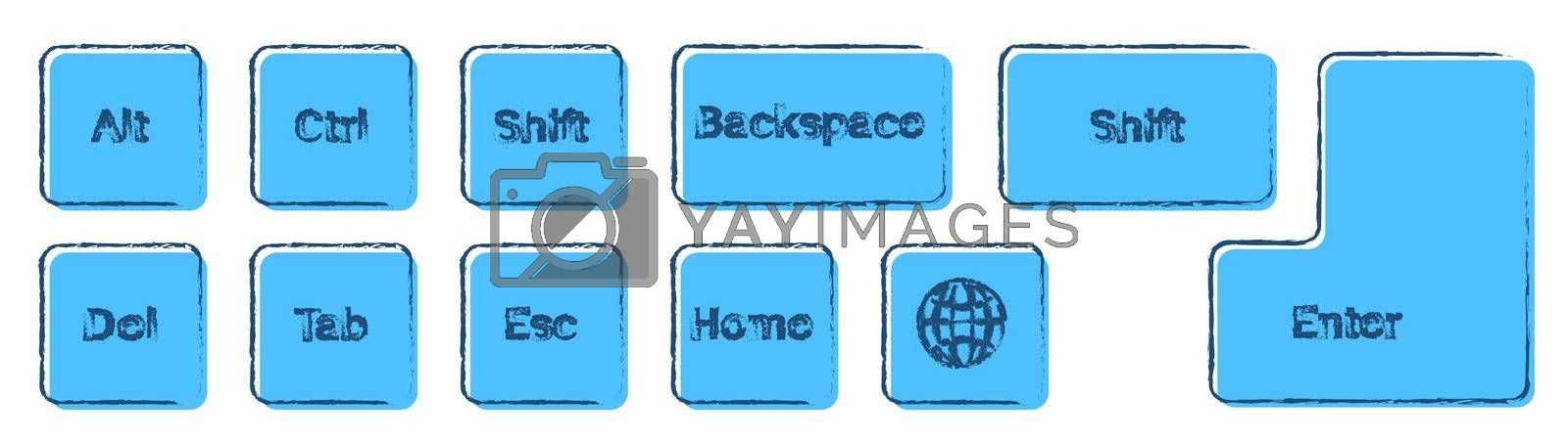set of additional keyboard keys on a white background. Alt, Ctrl, Enter, Backspace, Esc, globe, Shift drawn in ink and blue colors. Isolated vector