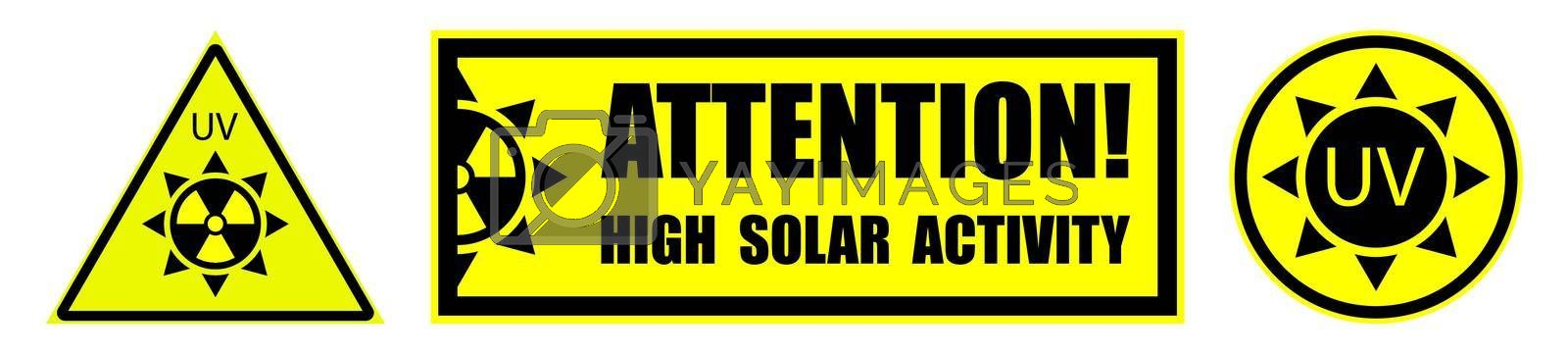 set of danger signs on a yellow background, high solar activity. Increased ultraviolet radiation. Protection against sunburn. Isolated vector on white background