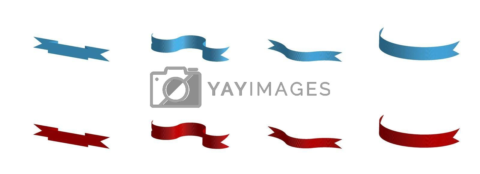 Set of decorative red and blue ribbons. 3d vector on white background