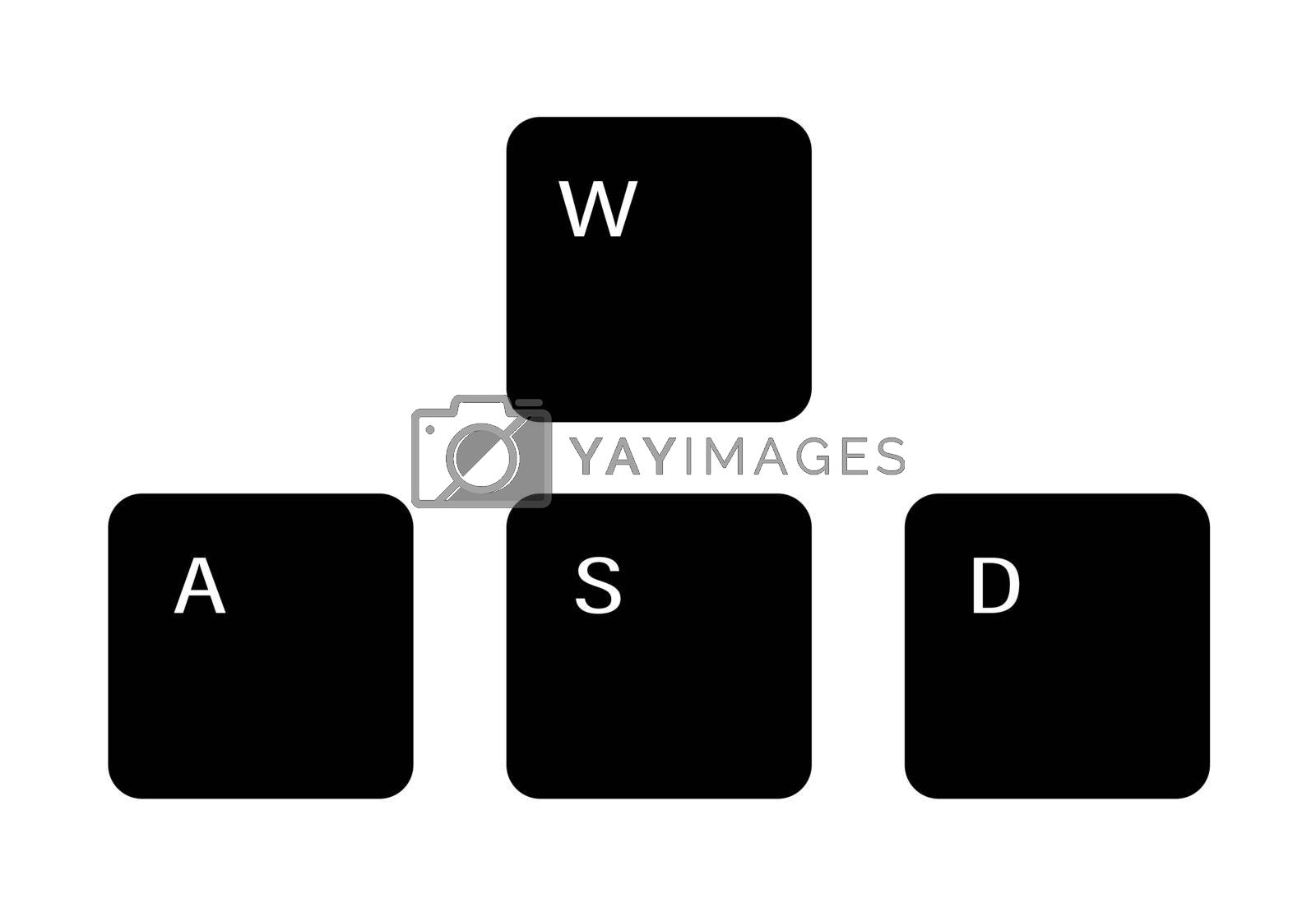 Set of gaming keyboard keys A W S D on a white background. Isolated vector