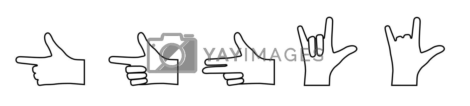 set of hand gestures with bent and pointing fingers. Icons in a linear style. Gesticulation. Vector on a white background
