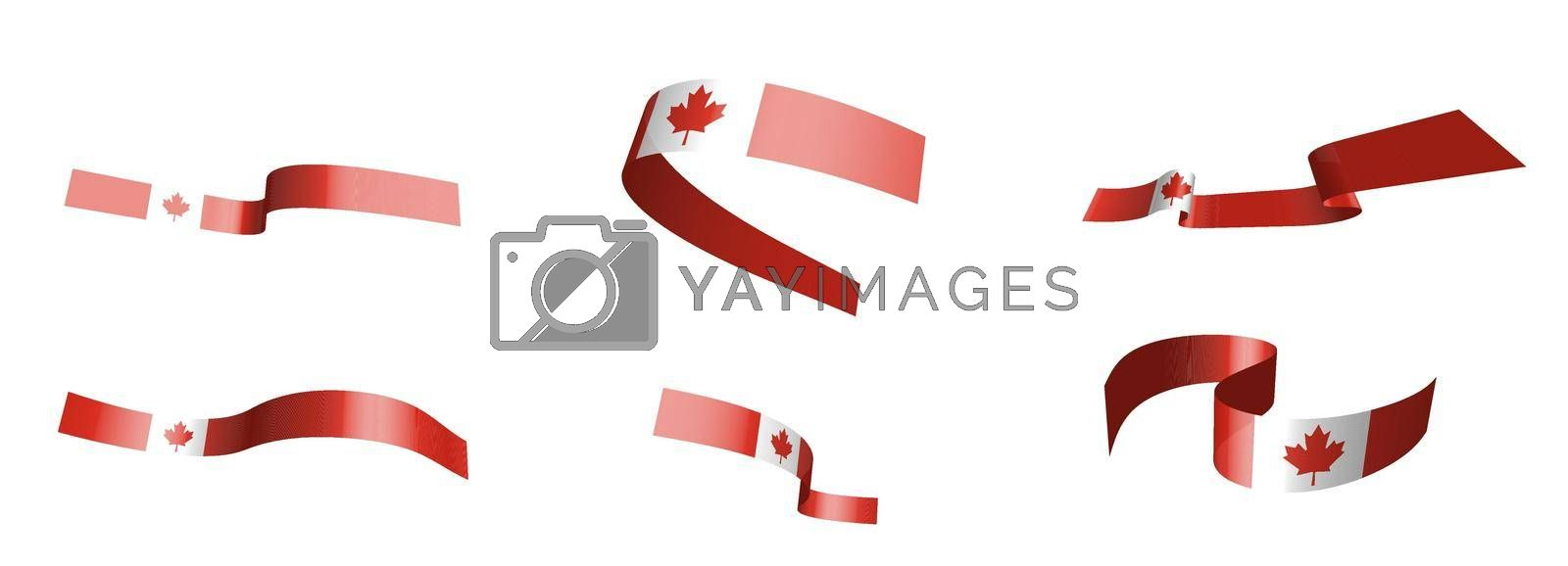 Set of holiday ribbons. Canadian flag waving in the wind. Separation into lower and upper layers. Design element. Vector on a white background
