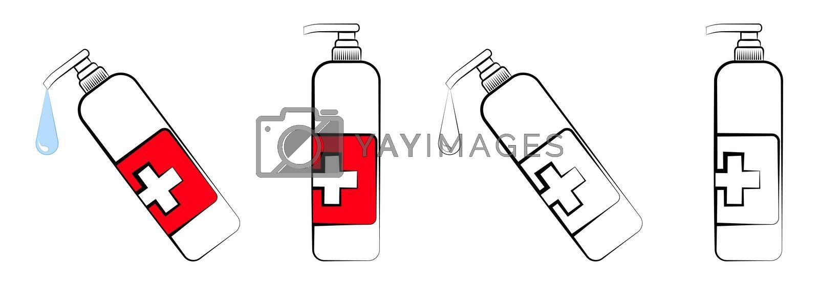 set of icons, colored and black and white bottle with liquid soap. Disinfectant dispenser. Maintaining hygiene in a pandemic and daily life. Isolated vector on white background