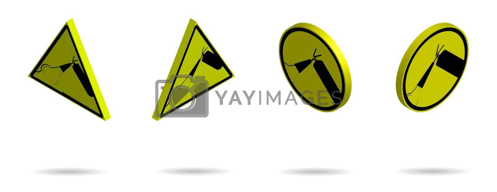 Set of isometric warning signs on a yellow background. Fire extinguisher, hazardous production. Isolated vector on white background