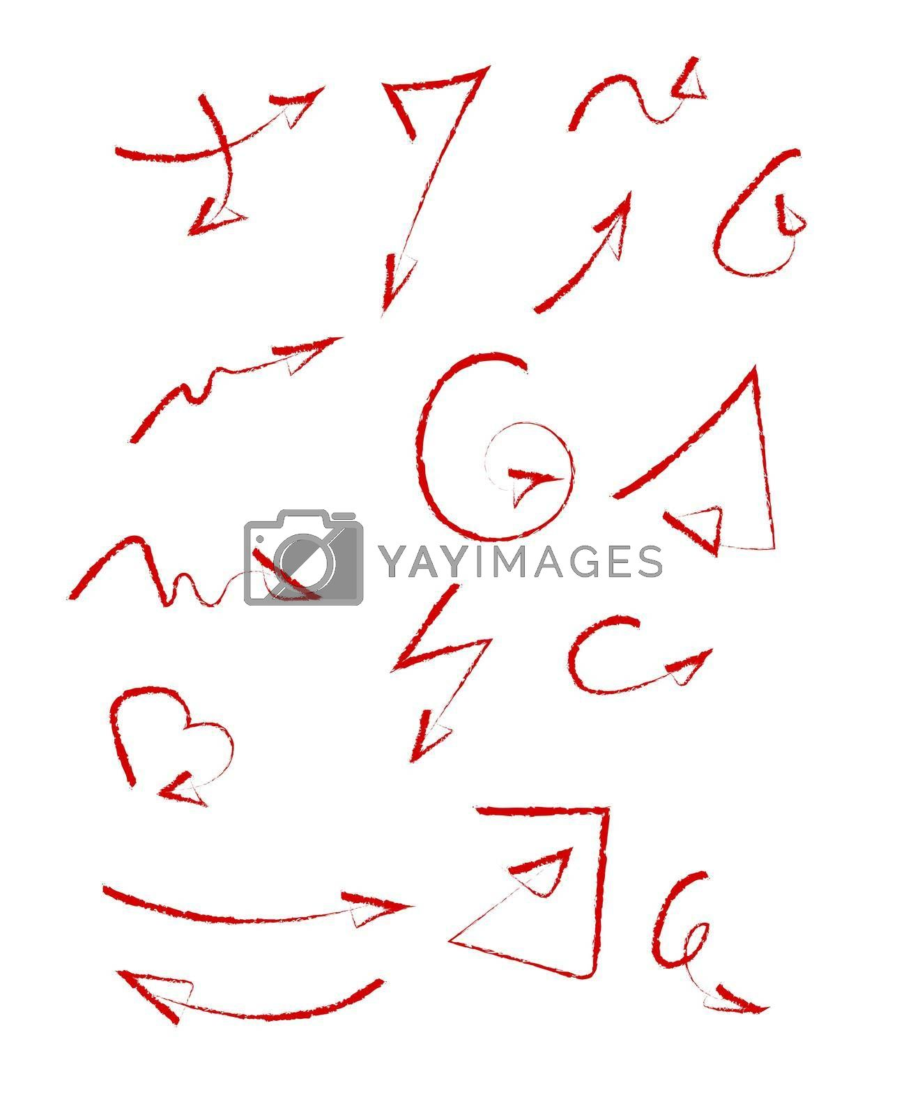 Set of red decorative hand-drawn grunge arrows. Isolated vector on white background