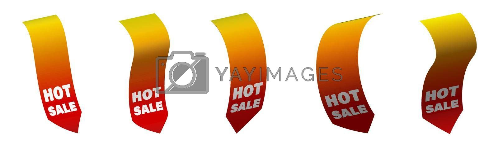 Set of summer price tags for the sale of hot fiery color. Ribbon sale banners isolated on white background. New collection of offers in vector