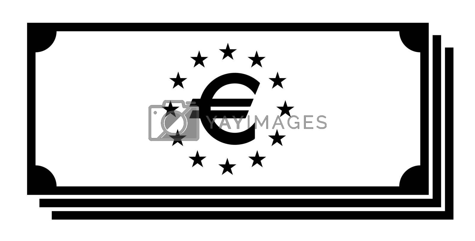 Stack of euro money icon. Cash, currency, bank symbol. Flat black white design
