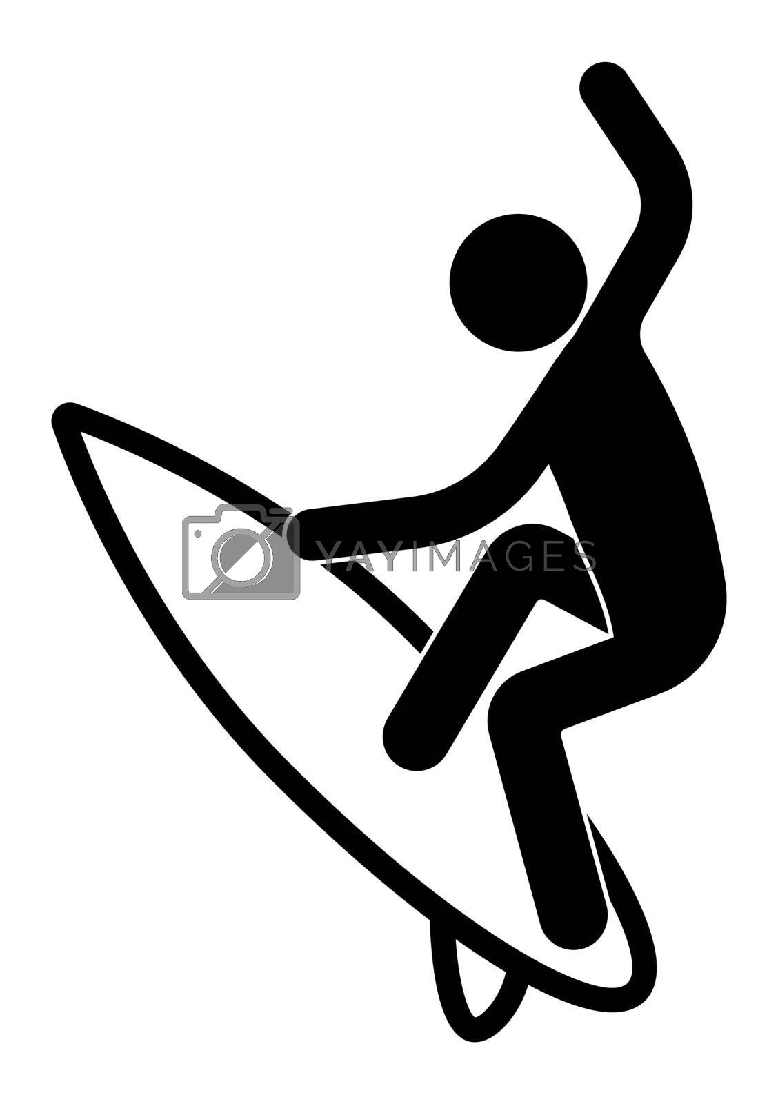 stick figure, surfer on the board caught a wave. Sea active rest. Summer vacation time. Isolated vector on white background