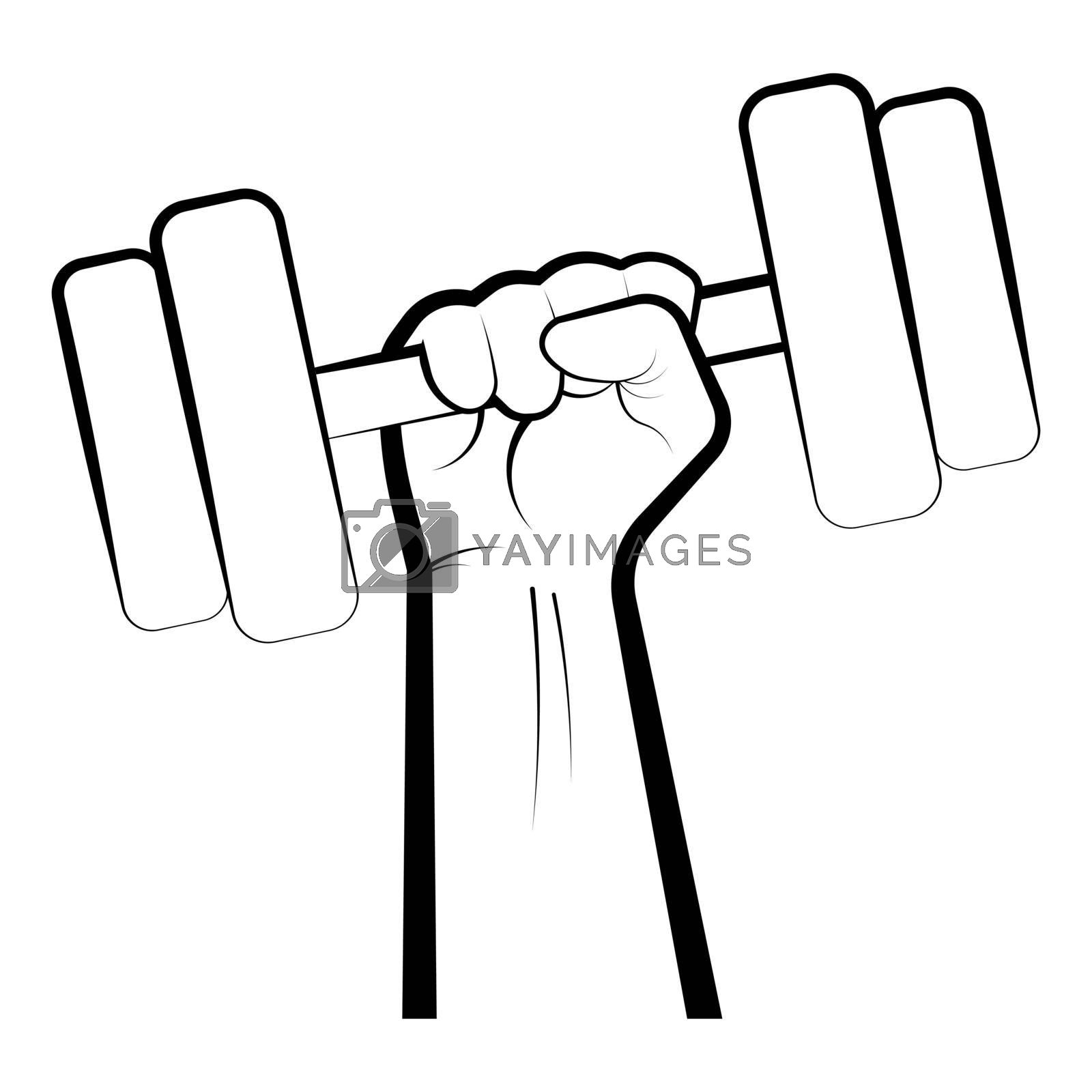 strong hand of an athlete holds a dumbbell. Print for printing on posters and clothes. Logo for the gym. Black-white vector on blank background
