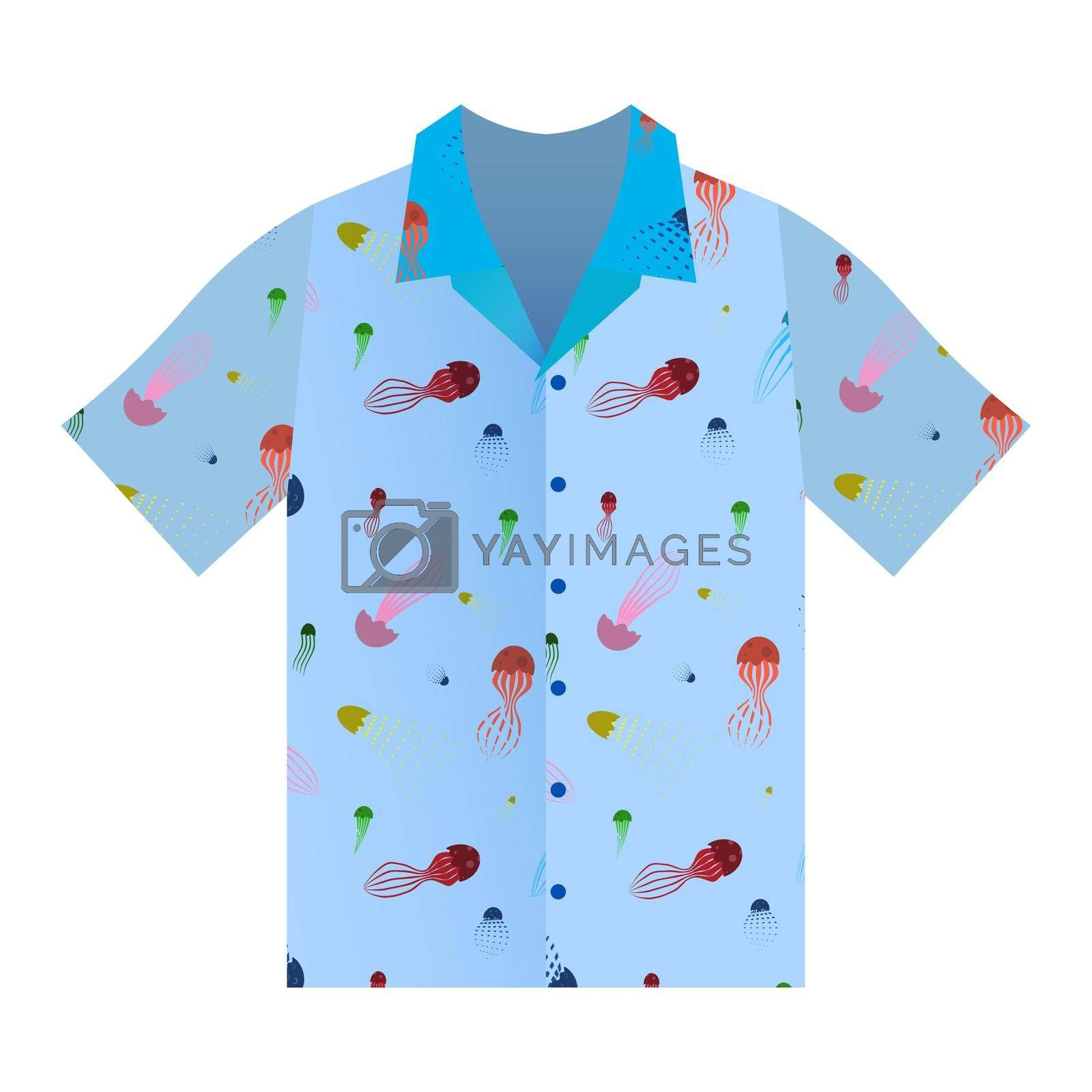 Summer shirt with short sleeves in blue. Marine ornament with cartoon jellyfish. Summer clothes. Isolated vector on white background